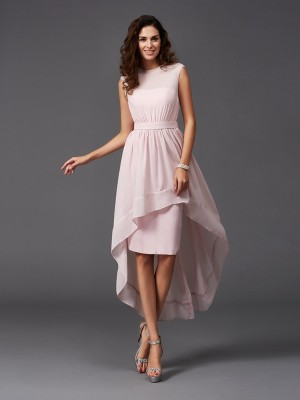 A-Line/Princess Scoop Sleeveless Sash/Ribbon/Belt Asymmetrical Chiffon Bridesmaid Dresses