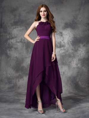 A-line/Princess Sleeveless Halter Ruffles Asymmetrical Chiffon Bridesmaid Dresses