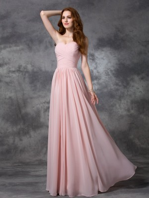 A-line/Princess Sleeveless Sweetheart Ruched Floor-length Chiffon Bridesmaid Dresses