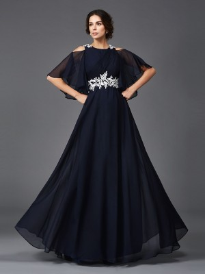 A-Line/Princess Straps 1/2 Sleeves Applique Floor-Length Chiffon Mother of the Bride Dresses