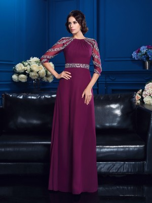 A-Line/Princess Scoop Beading 3/4 Sleeves Long Chiffon Mother of the Bride Dresses