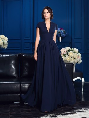 A-Line/Princess V-neck Short Sleeves Chiffon Floor-Length Mother Of The Bride Dresses