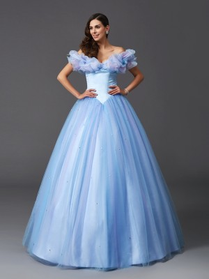 Cinderella Ball Gown Off the Shoulder Sleeveless Beading Net Floor-Length Dresses