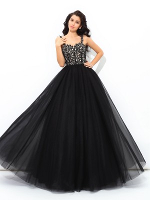 Ball Gown Straps Sleeveless Floor-Length Applique Net Quinceanera Dresses