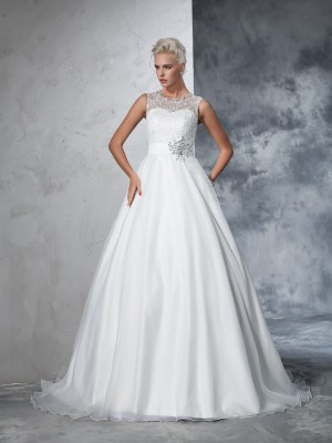 Ball Gown Sleeveless Sheer Neck Net Lace Chapel Train Wedding Dresses