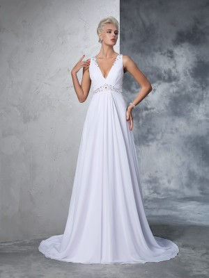 A-Line/Princess Sleeveless V-neck Chiffon Beading Cathedral Train Wedding Dresses