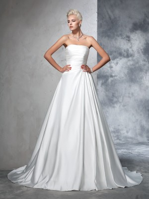 Ball Gown Strapless Satin Sleeveless Ruched Chapel Train Wedding Dresses