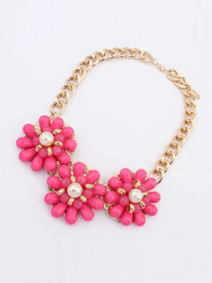 Occident Candy colors Fresh Big Flowers Necklace