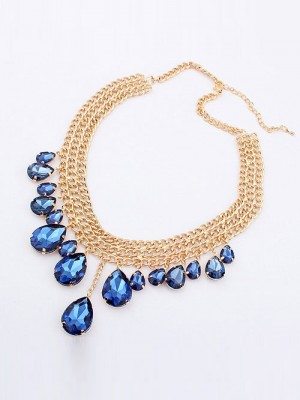 Occident Hyperbolic Stylish Metallic Mashup style Hot Sale New Water Drop Necklace