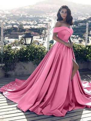 A-Line Sleeveless Off-the-Shoulder Ruffles Satin Court Train Dresses