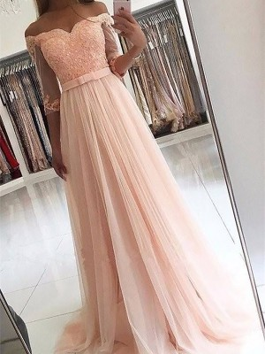A-Line 3/4 Sleeves Off-the-Shoulder Tulle Sash/Ribbon/Belt Sweep/Brush Train Dresses