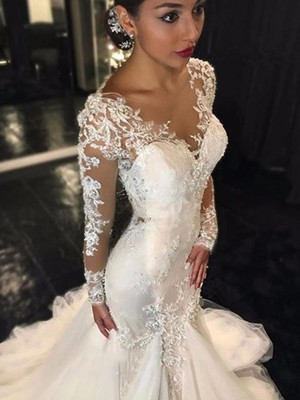 Trumpet/Mermaid V-neck Long Sleeves Lace Court Train Tulle Wedding Dresses