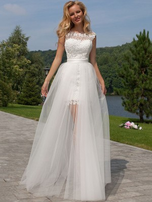 Sheath/Column Sleeveless Lace Scoop Floor-Length Tulle Wedding Dresses