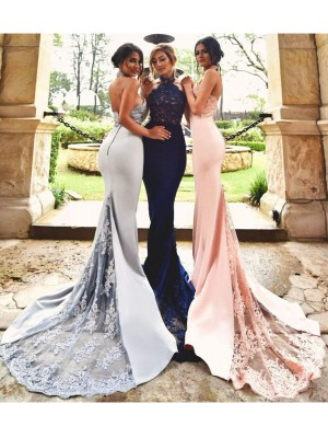 Trumpet/Mermaid Halter Sleeveless Lace Sweep/Brush Train Satin Bridesmaid Dresses