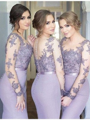 Trumpet/Mermaid Scoop Long Sleeves Jersey Floor-Length Bridesmaid Dresses