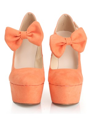 Women's Closed Toe Suede Wedge Heel Platform With Bowknot Shoes