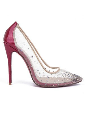 Women's Patent Leather Closed Toe with Hot Drilling Stiletto Heel Shoes
