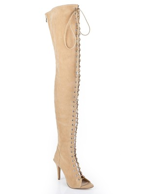 Women's Suede Stiletto Heel Peep Toe With Lace-up Over The Knee Boots