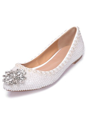 Women's Patent Leather Closed Toe Flat Heel With Pearl Rhinestone Casual Shoes