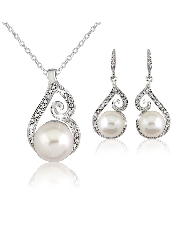 Wedding Fancy Alloy With Pearl Bridal Jewelry Set