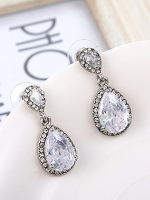 Ladies's Gorgeous S925 Silver With Crystal Earrings