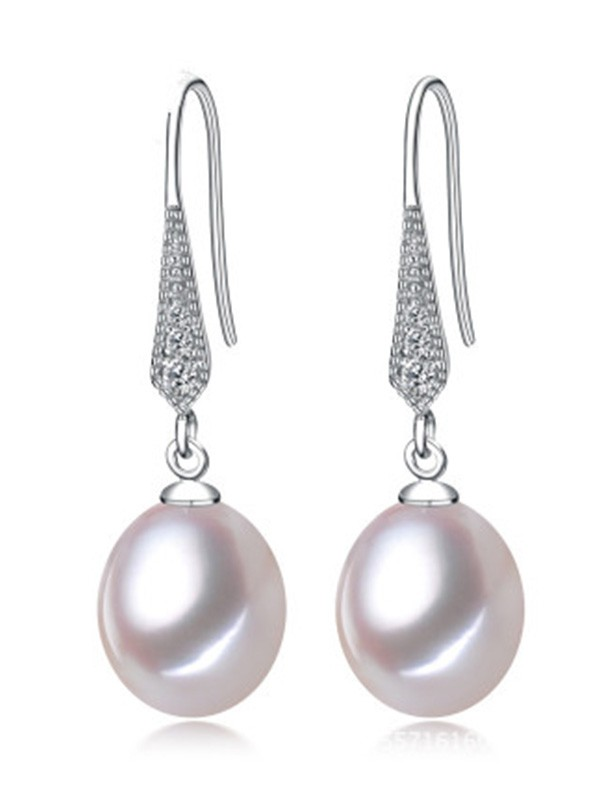 Ladies's Simple S925 Silver With Pearl Earrings