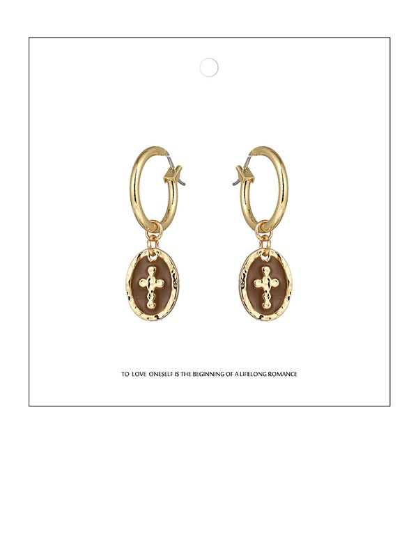 Ladies Delicate Zinc Alloy With Cross Earrings
