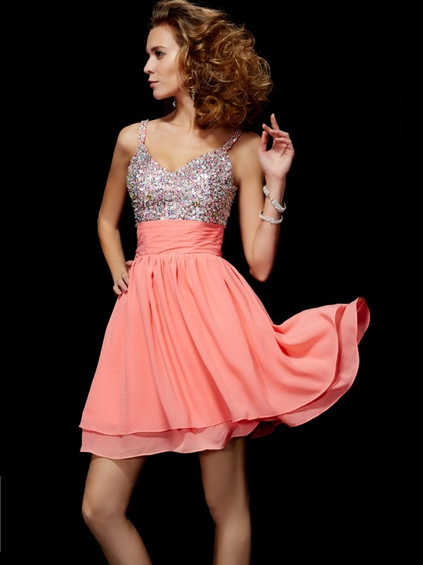 A-Line/Princess V-neck Sleeveless Beading Short Chiffon Dresses