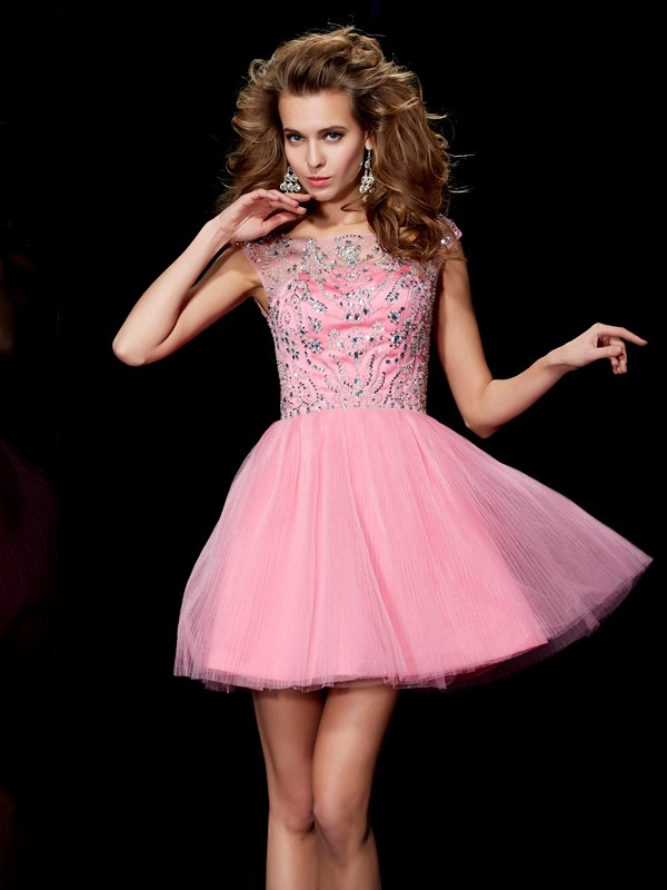 A-Line/Princess Bateau Sleeveless Beading Short Satin Dresses