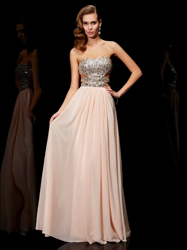 A-Line/Princess Sweetheart Rhinestone Sleeveless Long Chiffon Dresses