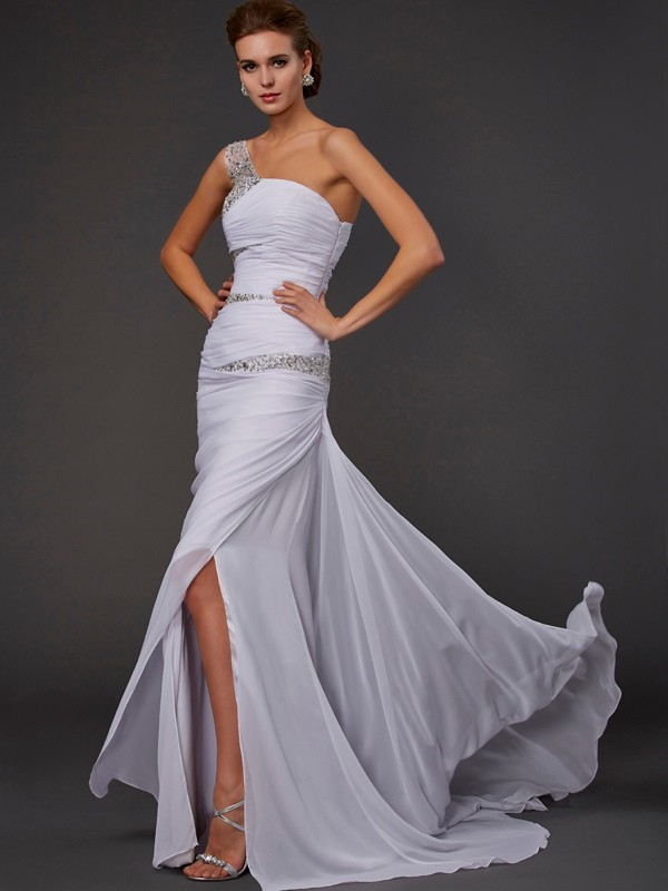Sheath/Column Sleeveless One-Shoulder Beading Long Chiffon Dresses