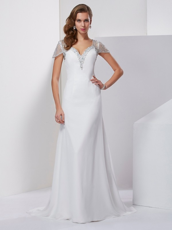 A-Line/Princess Sweetheart Short Sleeves Applique Beading Long Chiffon Dresses