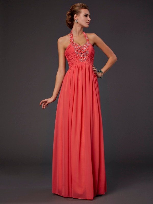 A-Line/Princess Halter Sleeveless Hand-Made Flower Long Chiffon Dresses