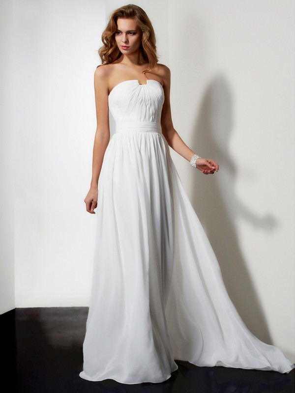 A-line/Princess Sleeveless Sweep/Brush Train Strapless Ruffles Chiffon Dresses