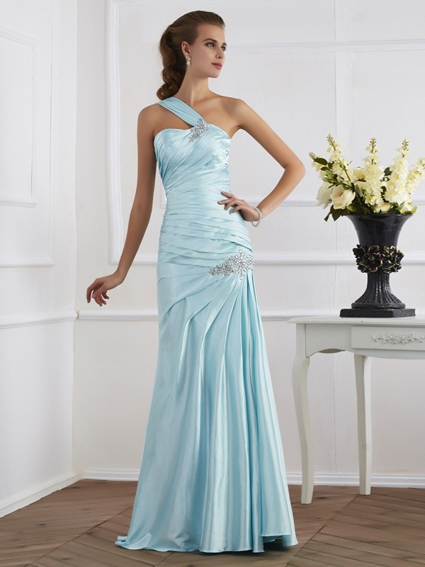 Trumpet/Mermaid One-Shoulder Sleeveless Ruched Long Elastic Woven Satin Dresses