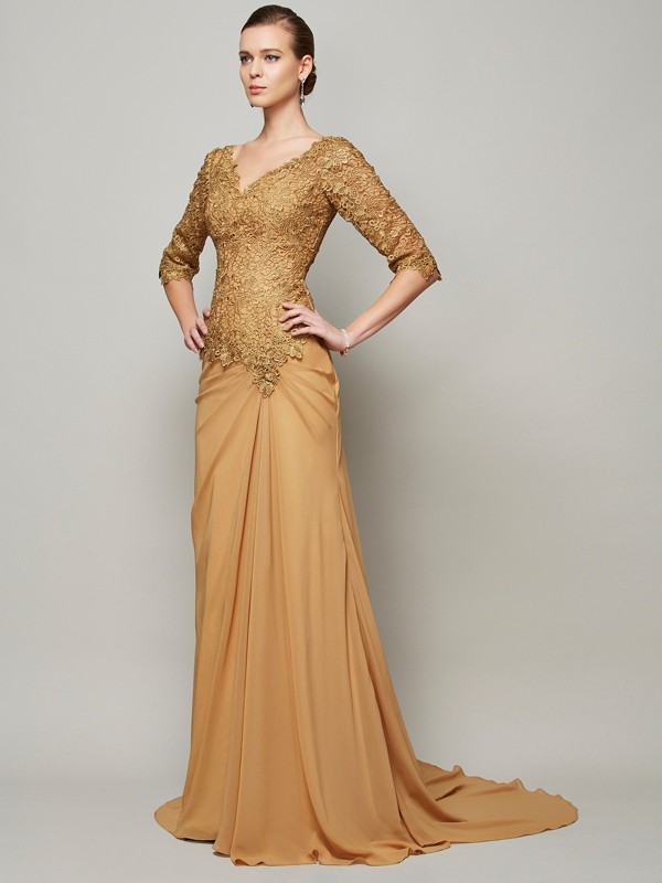 Sheath/Column V-neck Beading Chiffon Floor-Length Lace 1/2 Sleeves Dresses
