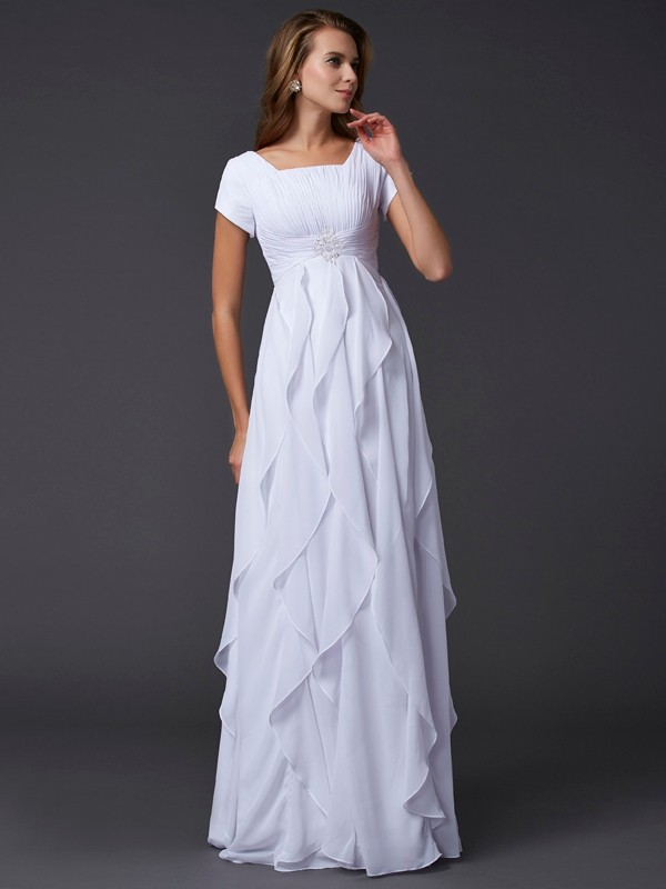 Sheath/Column Square Short Sleeves Ruffles Long Chiffon Dresses