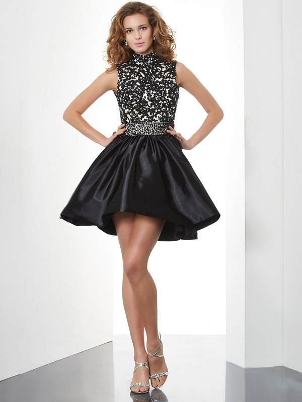 A-Line/Princess High Neck Sleeveless Beading Short Taffeta Dresses