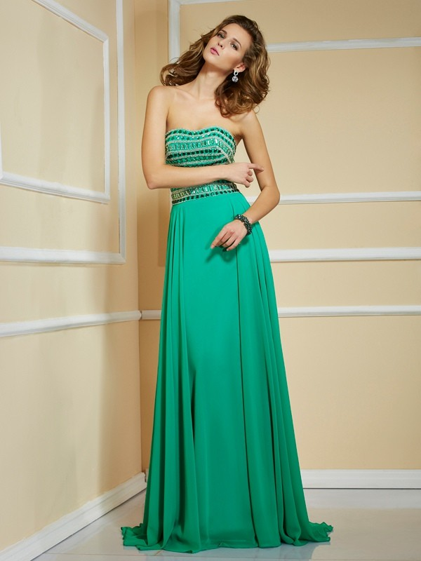 A-Line/Princess Strapless Sleeveless Rhinestone Long Chiffon Dresses