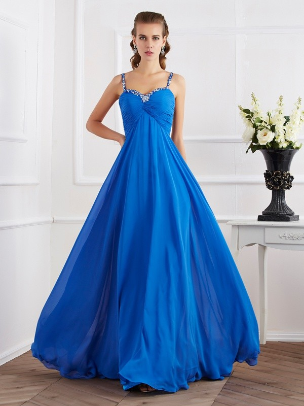 A-Line/Princess Spaghetti Straps Sleeveless Beading Applique Long Chiffon Dresses