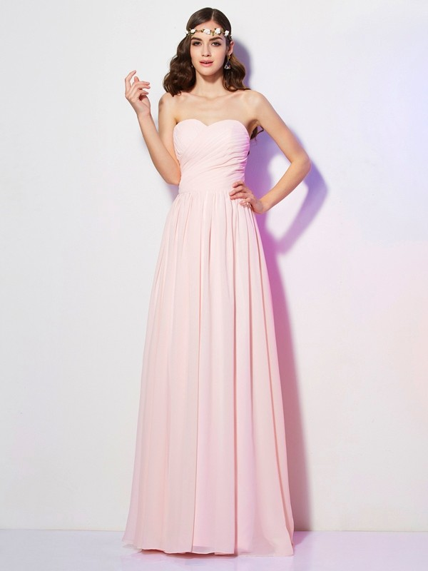 A-Line/Princess Sweetheart Sleeveless Long Pleats Chiffon Bridesmaid Dresses
