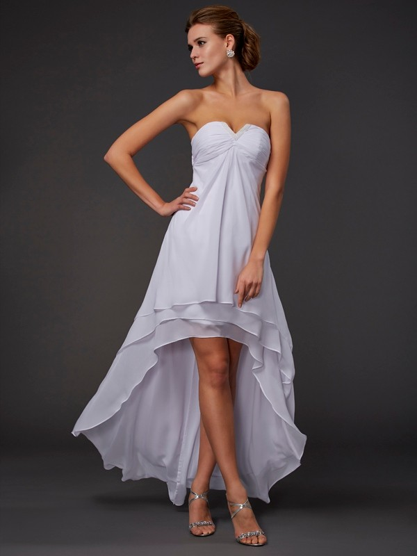 A-Line/Princess Sweetheart Sleeveless Ruffles High Low Chiffon Dresses