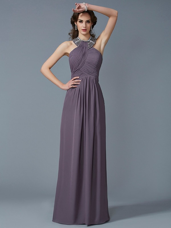 Sheath/Column High Neck Sleeveless Beading Long Chiffon Dresses