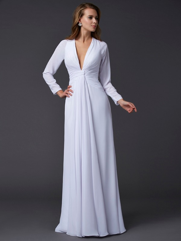 Sheath/Column V-neck Long Sleeves Ruched Long Chiffon Dresses