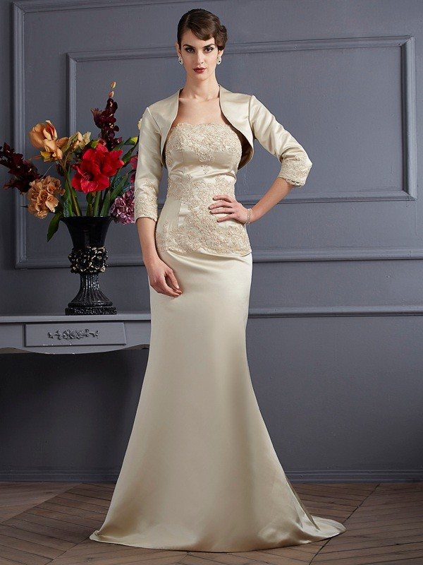 Trumpet/Mermaid Strapless Sleeveless Applique Long Satin Mother of the Bride Dresses