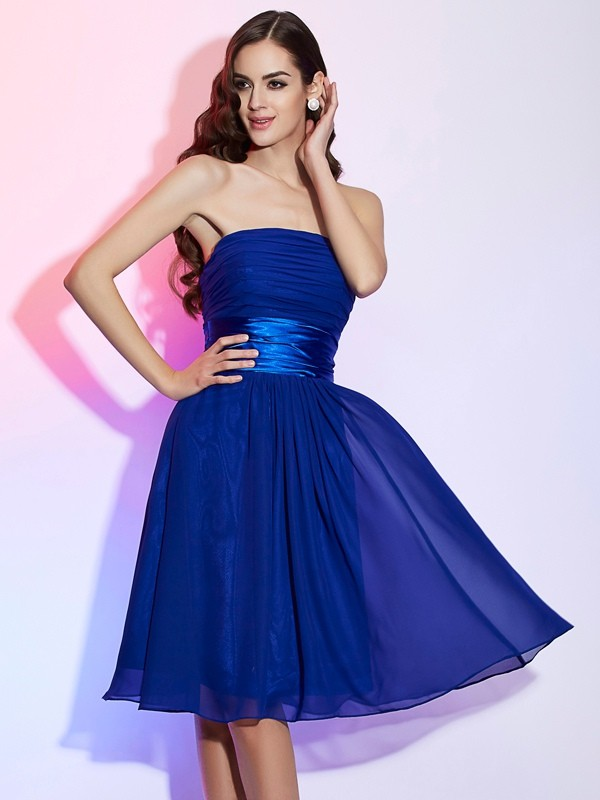 A-Line/Princess Strapless Sleeveless Bowknot Short Chiffon Dresses