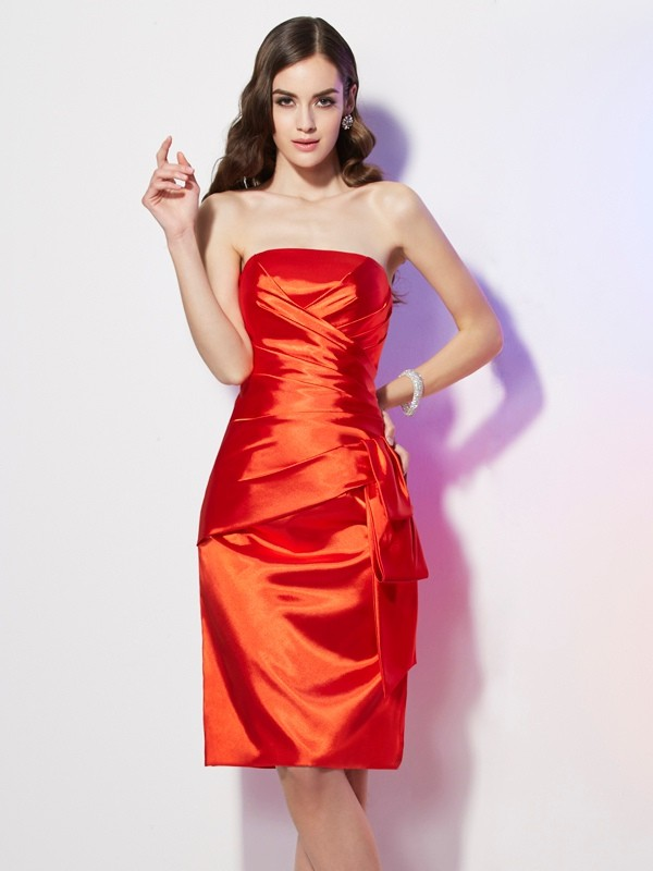 Sheath/Column Strapless Sleeveless Pleats Short Elastic Woven Satin Dresses