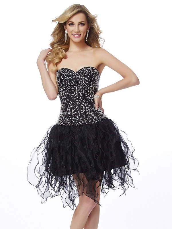 Sheath/Column Sweetheart Sleeveless Beading Short Organza Dresses