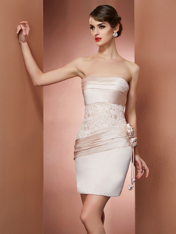Sheath/Column Strapless Sleeveless Hand-Made Flower Short Satin Dresses