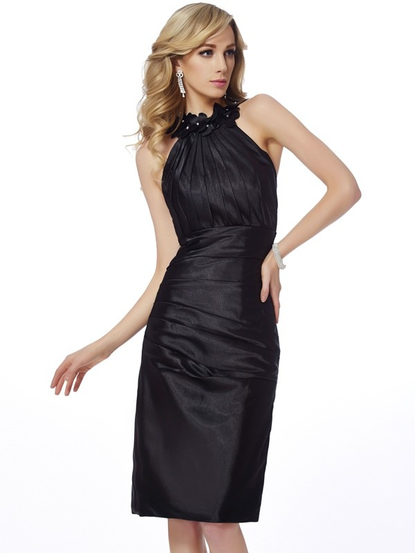 Sheath/Column Bateau Sleeveless Applique Short Elastic Woven Satin Dresses